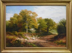 Froggatt, Derbyshire - Large 19th Century Victorian Landscape Oil Painting