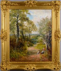 Landscape oil painting of a Derbyshire lane