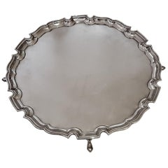 George V Large London Chippendale Sterling Silver Round Footed Salver Tray