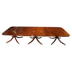 George V Mahogany 3 Pillar Dining Table