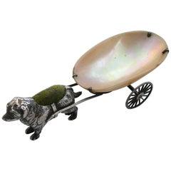 George V Novelty Silver Dog Pulling a Cart Pin Cushion by Adie & Lovekin, 1922