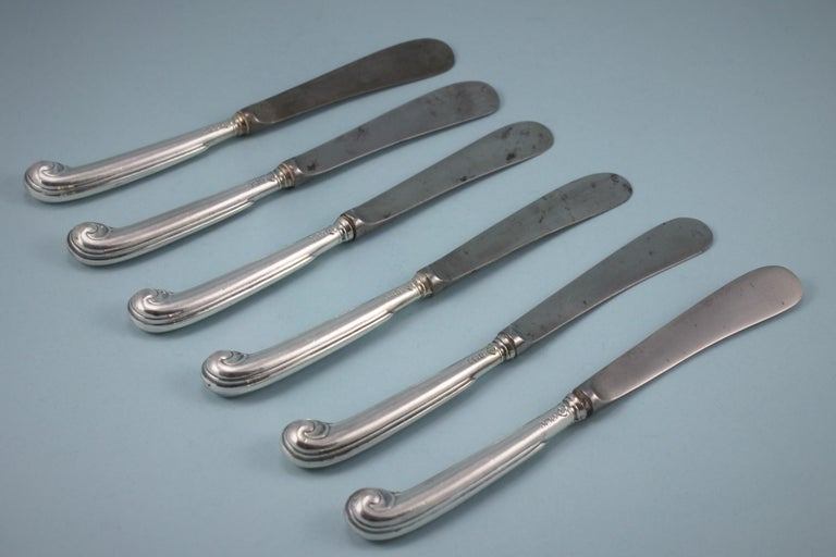 English George V Set of Six Small Pistol Handled Knives, London, 1912 For Sale
