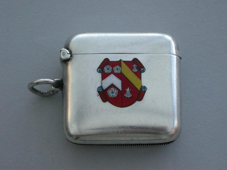 Georgian George V Silver & Enamel Wadham College Oxford University Vesta Case, 1911 For Sale