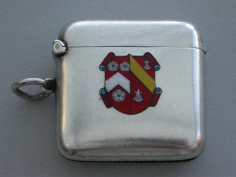 English George V Silver & Enamel Wadham College Oxford University Vesta Case, 1911 For Sale