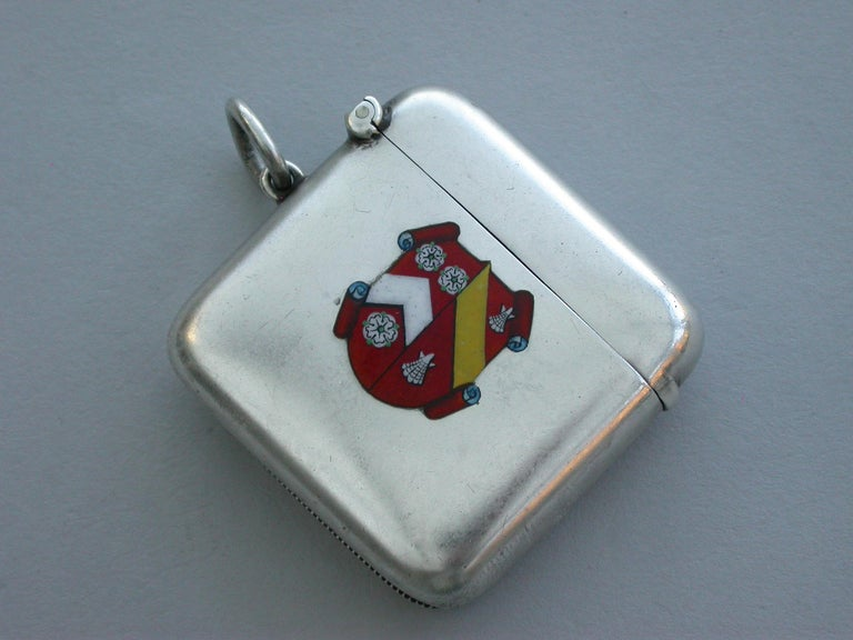 Early 20th Century George V Silver & Enamel Wadham College Oxford University Vesta Case, 1911 For Sale