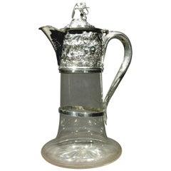 George V Silver Mounted Glass Claret Jug / Wine Decanter, Hallmarked London 1933
