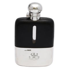 George V Sterling Silver and Leather-Mounted Glass Flask with Hinged Lid