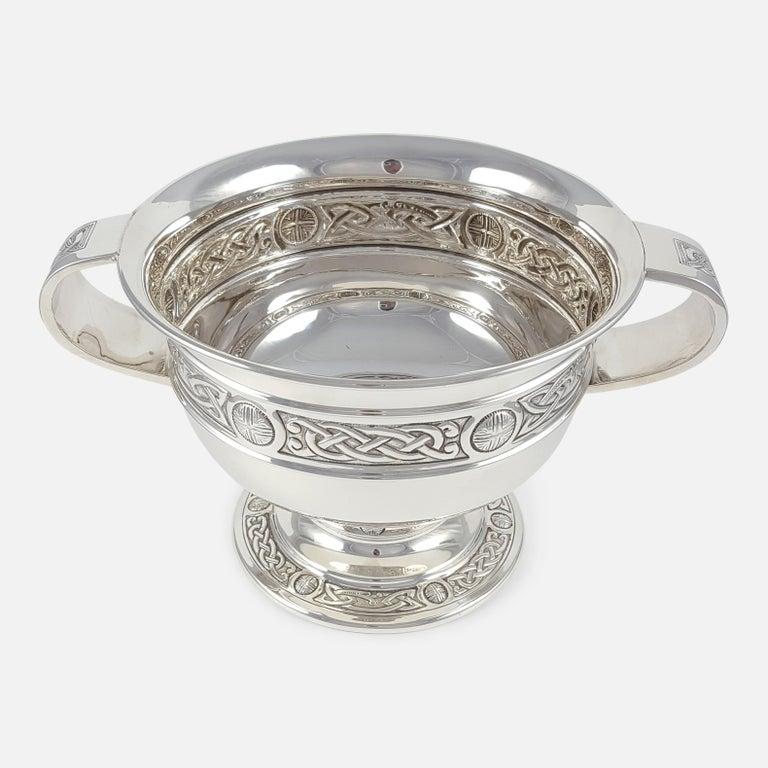 British George V Sterling Silver Celtic Revival Bowl with Handles, 1935 For Sale