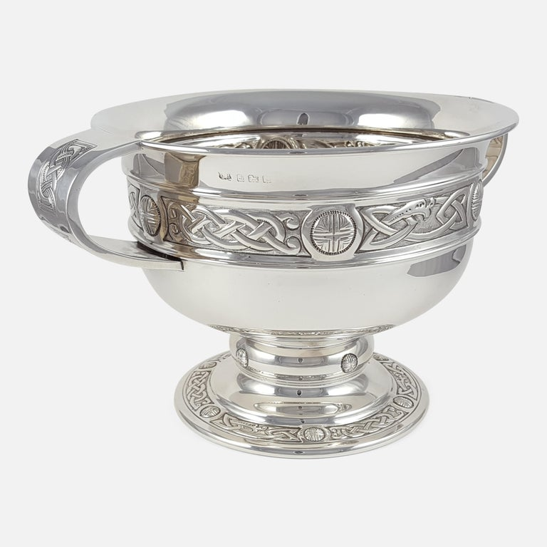 Mid-20th Century George V Sterling Silver Celtic Revival Bowl with Handles, 1935 For Sale