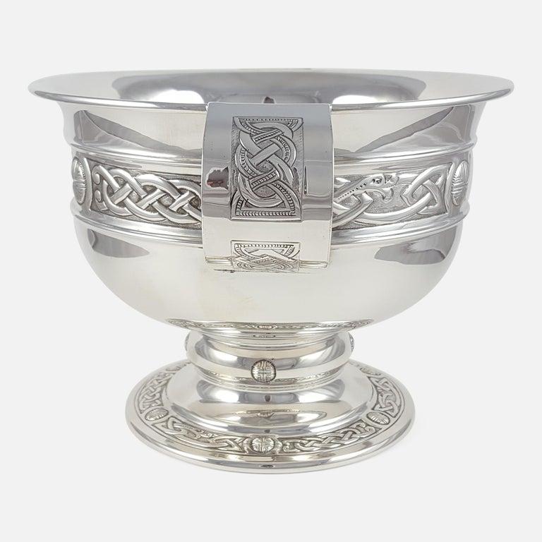 George V Sterling Silver Celtic Revival Bowl with Handles, 1935 For Sale 1