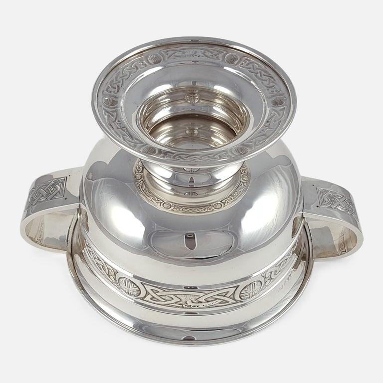 George V Sterling Silver Celtic Revival Bowl with Handles, 1935 For Sale 3