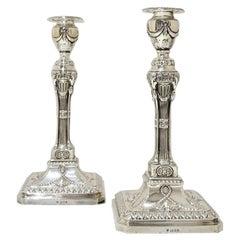 George V Sterling Silver Pair Candlesticks London 1926 Ellis Jacob Greenberg