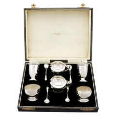 George VI Art Deco Style Sterling Silver Condiment Set