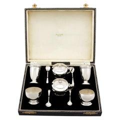 George VI Art Deco Style Sterling Silver Condiment Set