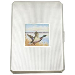 George VI Sterling Silver and Enamel Cigarette Case by A Wilcox