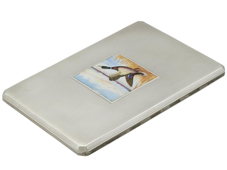 Mid-20th Century George VI Sterling Silver and Enamel Cigarette Case For Sale