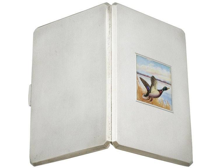 George VI Sterling Silver and Enamel Cigarette Case For Sale 1