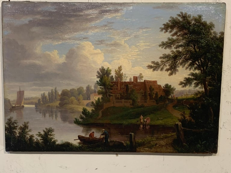 George Vincent Panoramic Landscape painting of the River Yare in Norwich England For Sale 9