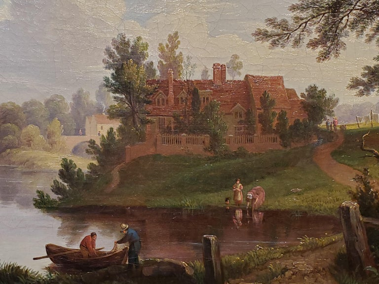Landscape painting of the River Yare in Norwich, United Kingdom.  This landscape painting is oil on canvas and measures 12 inches tall by 17 wide.  Signed by George Vincent who was a British artist during the 19th century and exhibited between 1814