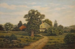 American Farm Landscape Oil Painting signed by George W Drew