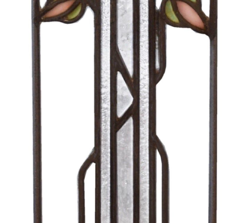 American George W. Maher Prairie School Stained Glass Arched Hollyhock Window Pair, 1906 For Sale