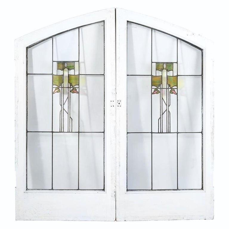 20th Century George W. Maher Prairie School Stained Glass Arched Hollyhock Window Pair, 1906 For Sale