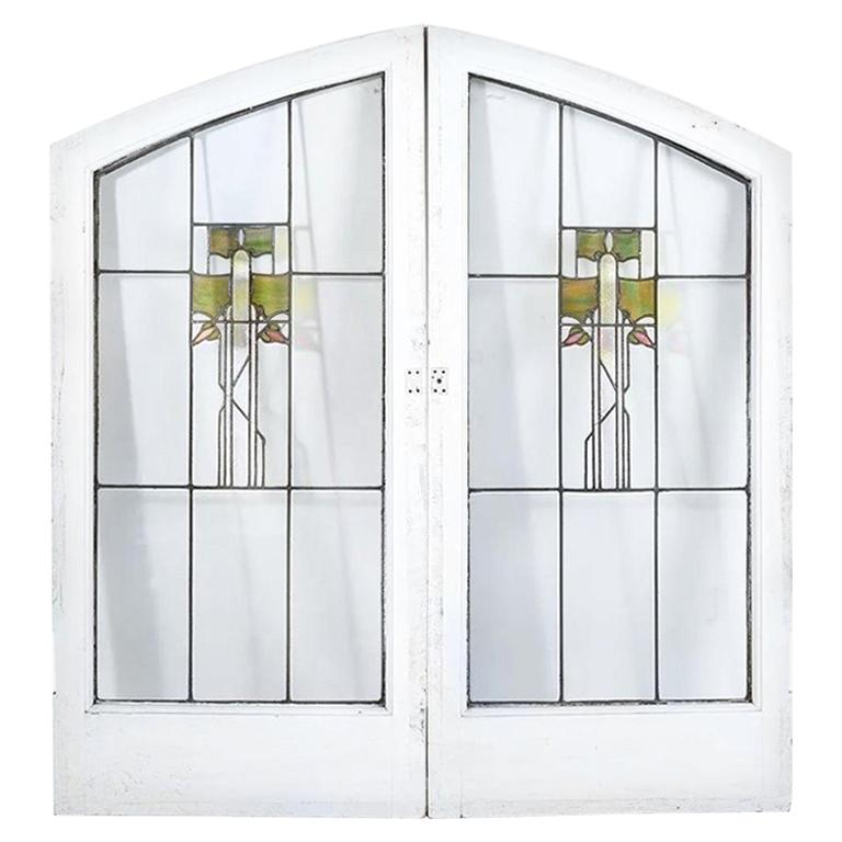 George W. Maher Prairie School Stained Glass Arched Hollyhock Window Pair, 1906 For Sale