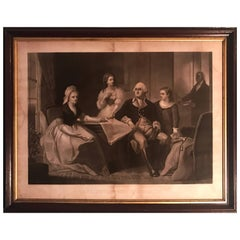 """""""George Washington and His Family"""", circa 1864 Framed Lithograph"""