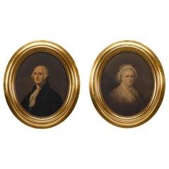 George Washington and Martha Washington Portraits by E.C. Middleton, 1861