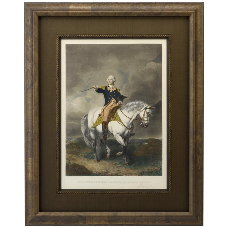 George Washington Receiving a Salute on the Field at Trenton- Hand-Colored Print For Sale