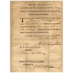 George Washington Signed Military Discharge Document, Dated June 10, 1783