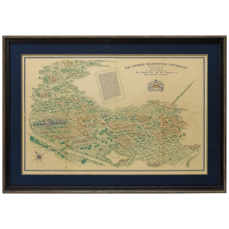 George Washington University Antique Map, Bird's-Eye View, circa 1912