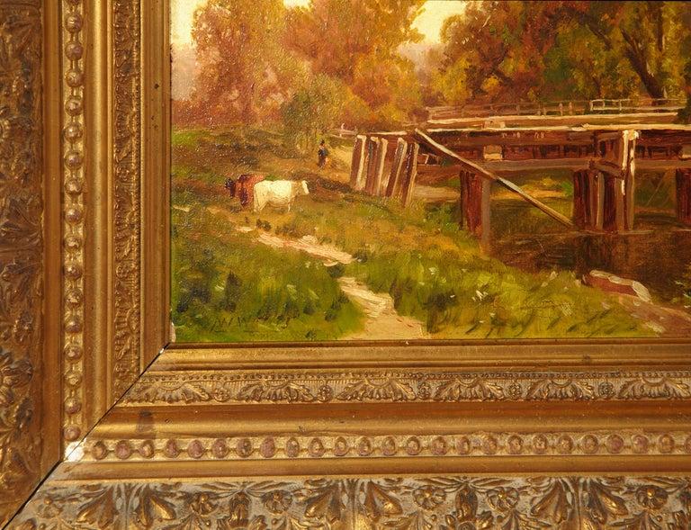 American George Waters 'Old Aqueduct' Rural Scene-Painting Oil on Board