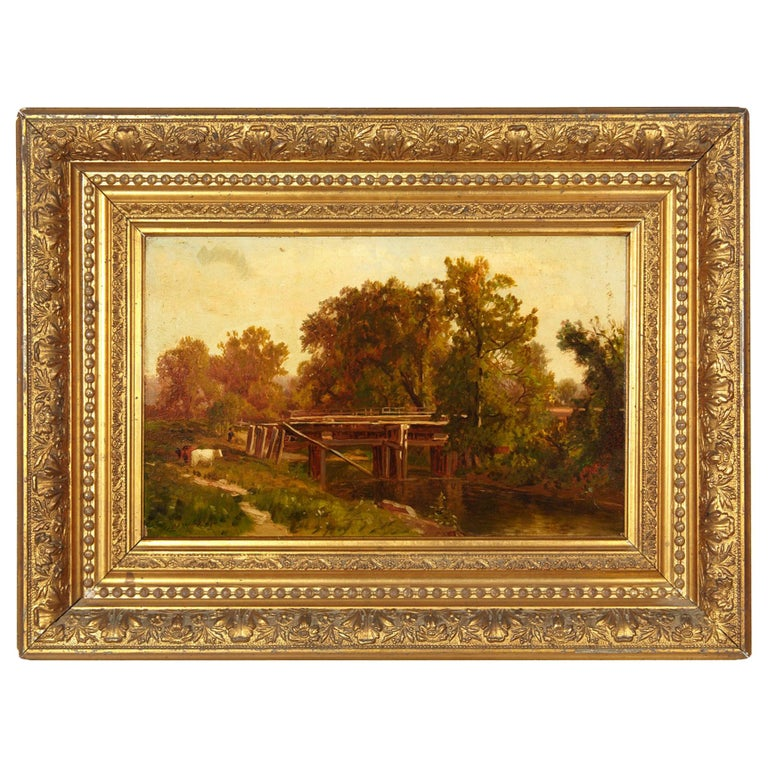 George Waters 'Old Aqueduct' Rural Scene-Painting Oil on Board
