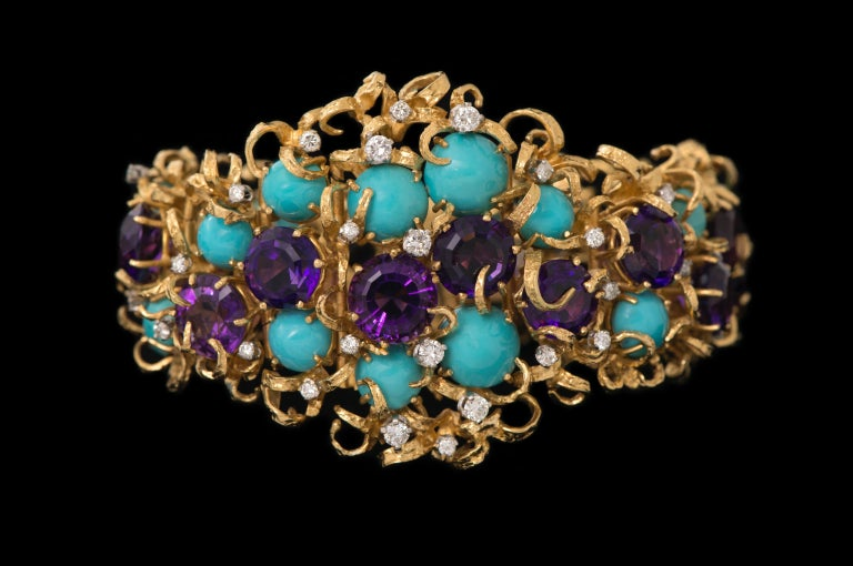 Modernist George Weil Amethyst, Turquoise, Diamond, Gold and Platinum Bracelet, circa 1960 For Sale