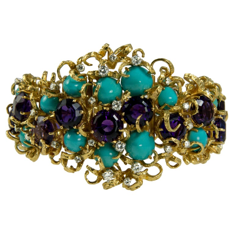 George Weil Amethyst, Turquoise, Diamond, Gold and Platinum Bracelet, circa 1960 For Sale