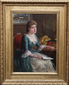Portrait of Chlorinda with Letter - British art Victorian genre oil painting