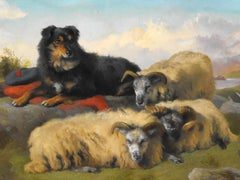Antique Victorian oil painting landscape of sheep and sheep dog by Holgor 1870