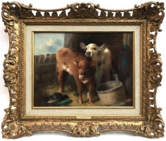 Barnyard Scene, Original Oil Painting