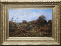 Landscape with Cattle - Surrey - British Victorian art 19th century oil painting