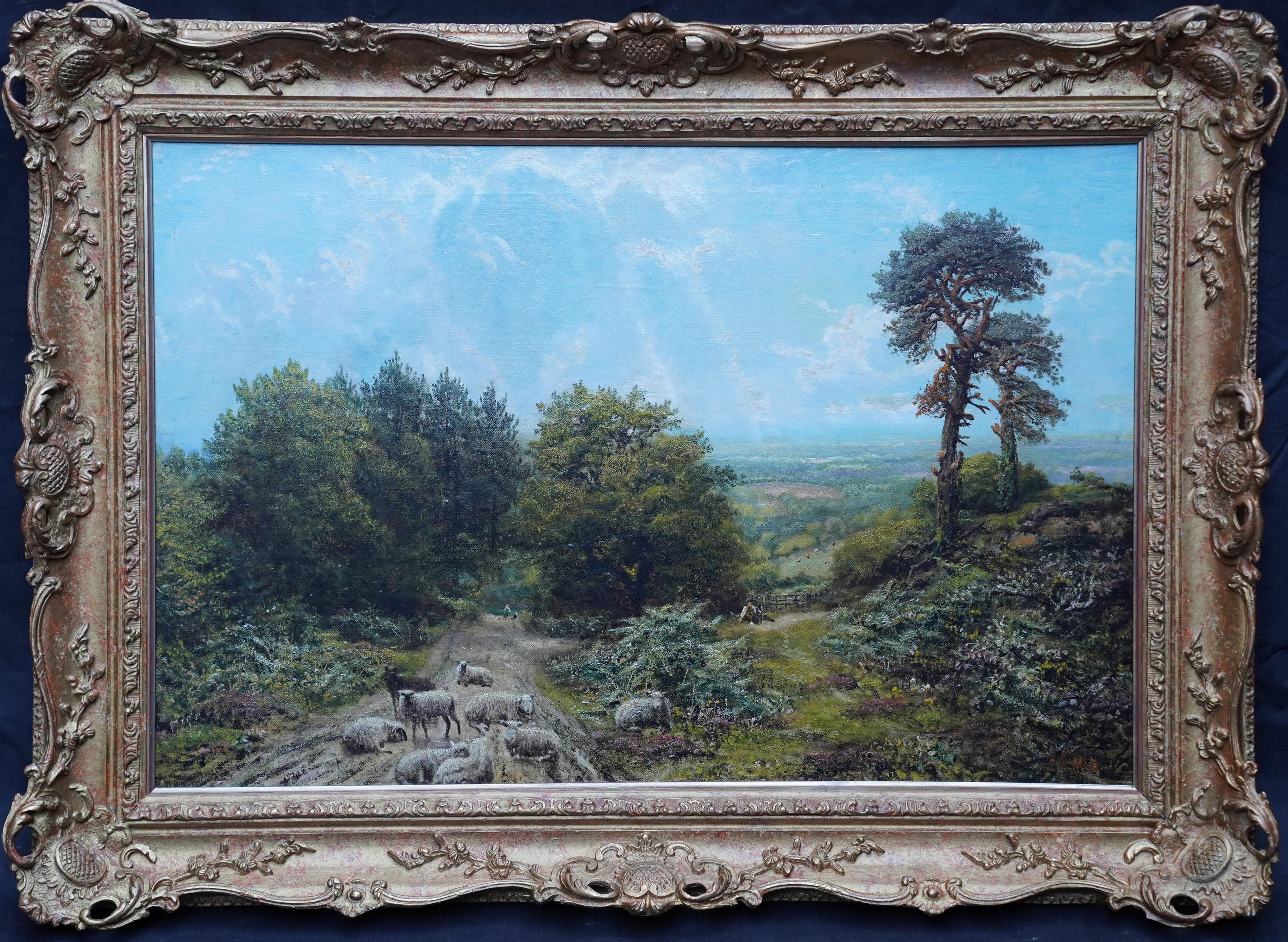 Sheep in a Surrey Landscape - British Victorian art sunny landscape oil painting