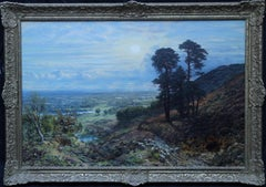 Sunset View from Coneyhurst Hill, Surrey - British 19thC landscape oil painting