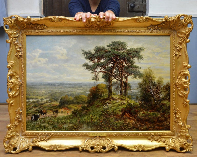 View from the Surrey Hills - 19th Century Victorian Landscape Oil Painting - Brown Landscape Painting by George William Mote
