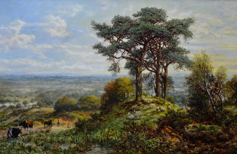 This is a large fine 19th century summer landscape oil on canvas depicting a small family, cattle, and sheep in an extensive 'View from the Surrey Hills' by the renowned Royal Academy artist George William Mote (1832-1909). The painting is signed by