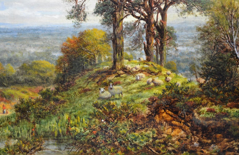 View from the Surrey Hills - 19th Century Victorian Landscape Oil Painting 3