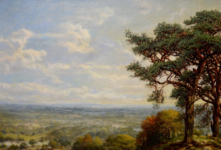 View from the Surrey Hills - 19th Century Victorian Landscape Oil Painting 4