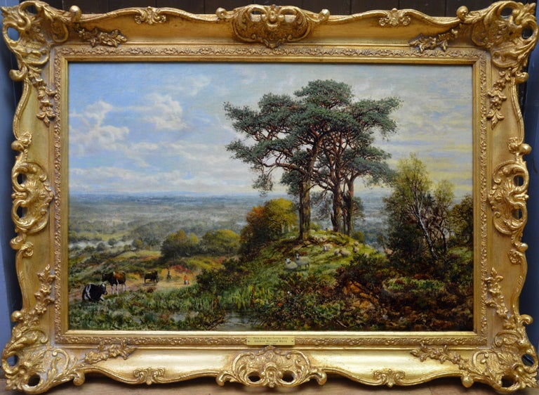 George William Mote Landscape Painting - View from the Surrey Hills - 19th Century Victorian Landscape Oil Painting