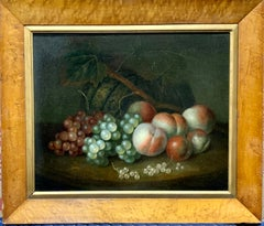 Early 19th century English Antique Still life of peaches, grapes, melon outdoors