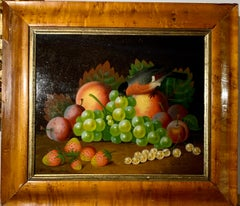 Early 19th century English still life of fruit and a chaffinch bird on a table.