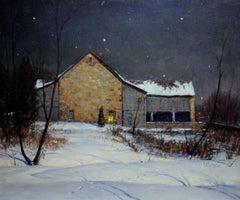 Sotter's Barn, Pennsylvania Impressionist, Nocturnal Landscape, 1946, Framed